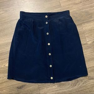 Madewell Navy Blue Silk Button-up Skirt